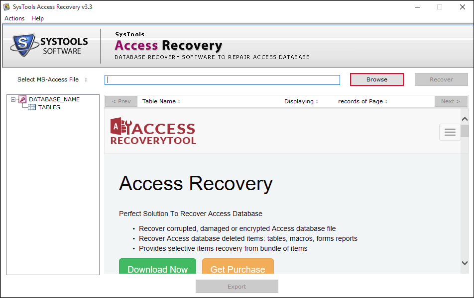 browse MS Access database file
