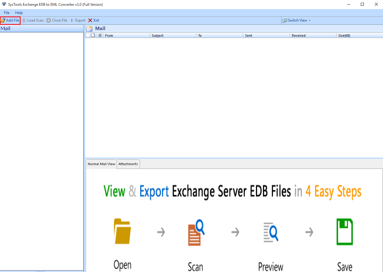 Open EDB file to eml exporter