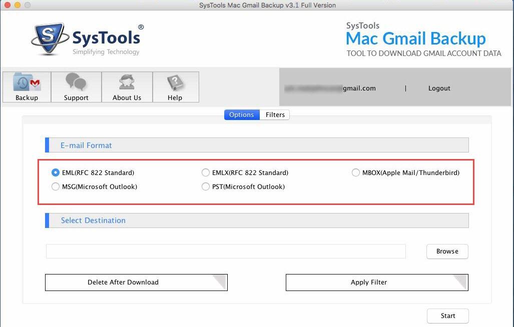 select gmail backup format