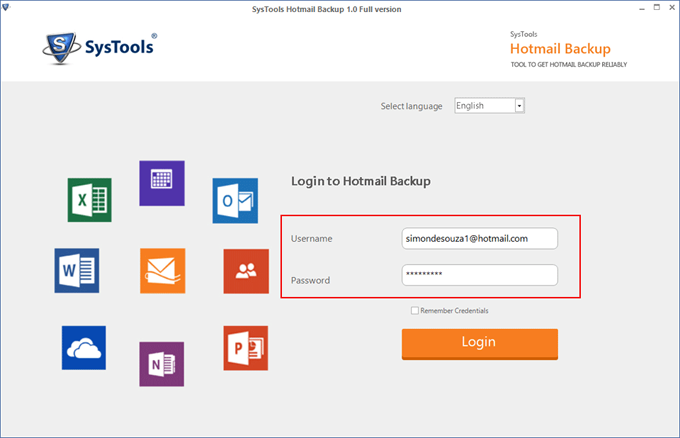 Launch the Hotmail Backup Software