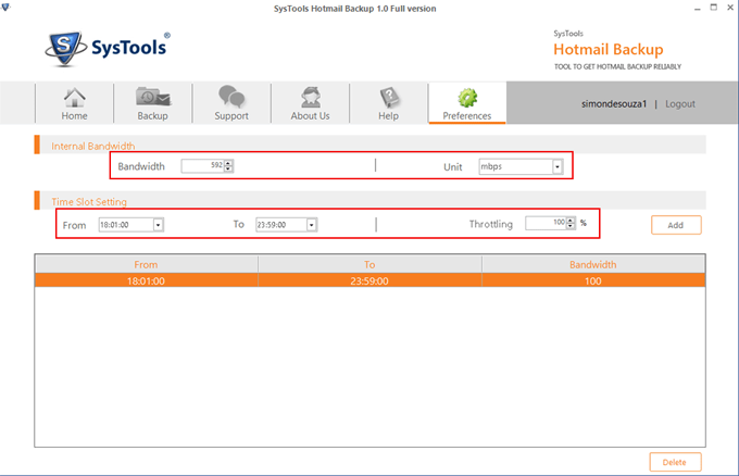 Hotmail Backup Tool usage of Internet Bandwidth
