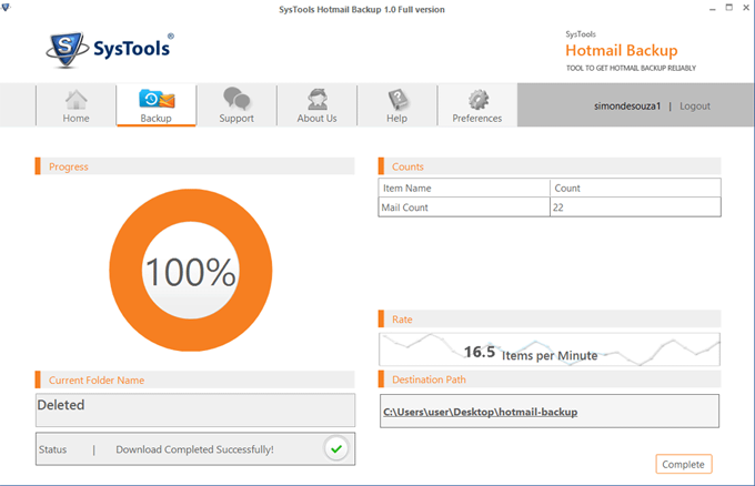 restore the Hotmail backup process get interrupted