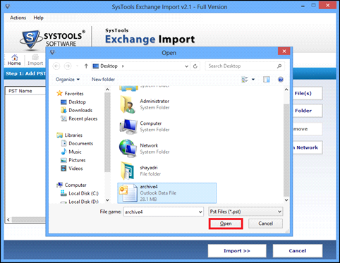 add outlook items to upload pst file on exchange server