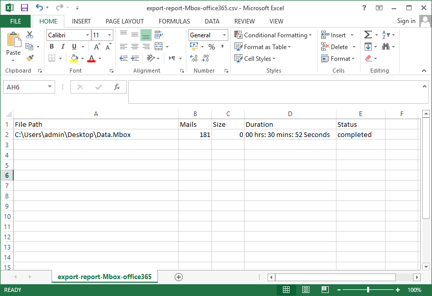 open the report in csv format