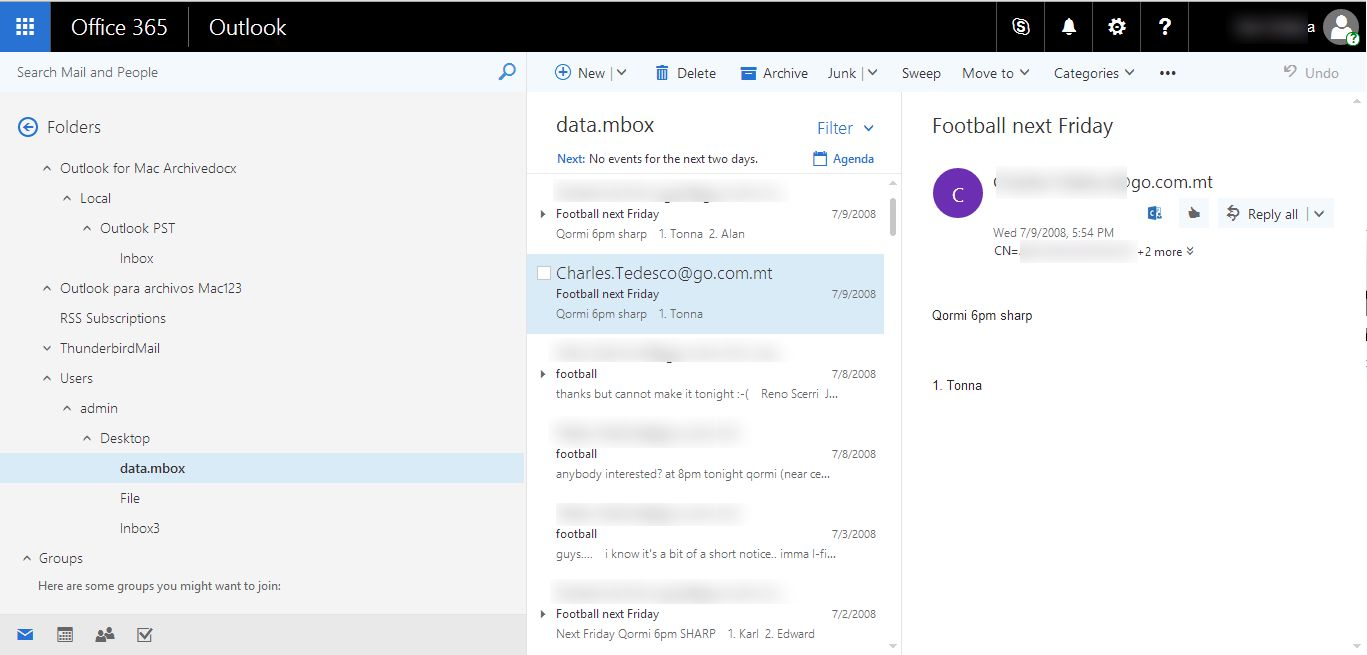 view exported mbox files in office 365