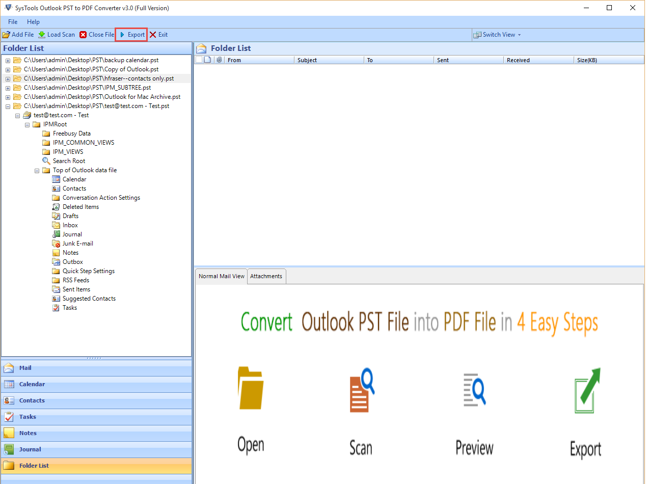 Export pst to pdf