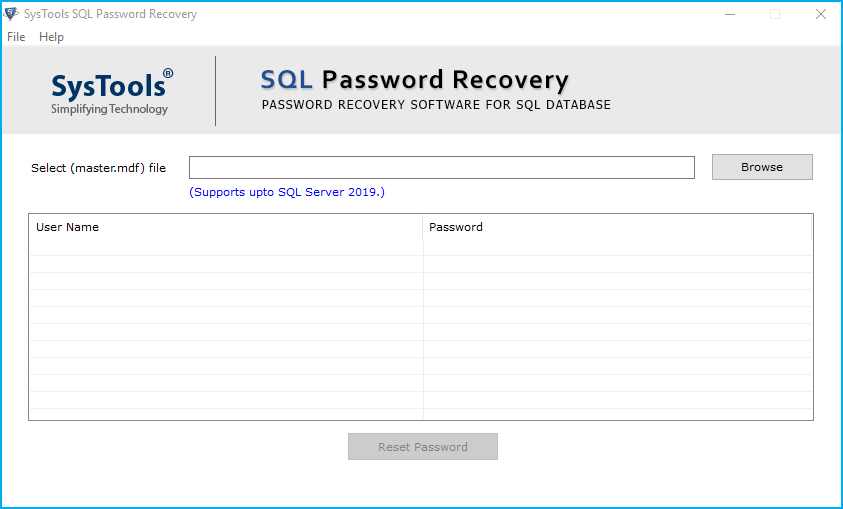 recover sql server database password