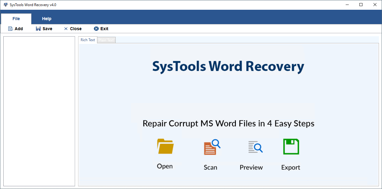 Open ms word Recovery Tool
