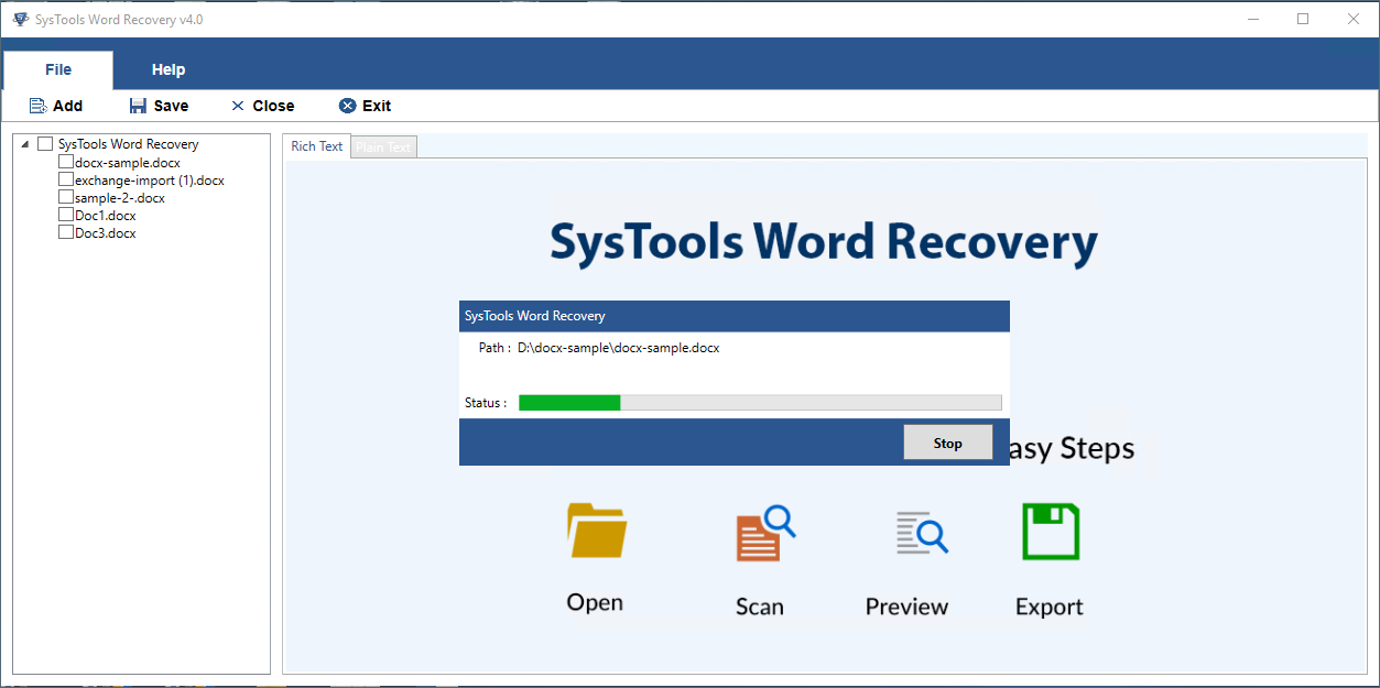 Quick word file Recovery Mode