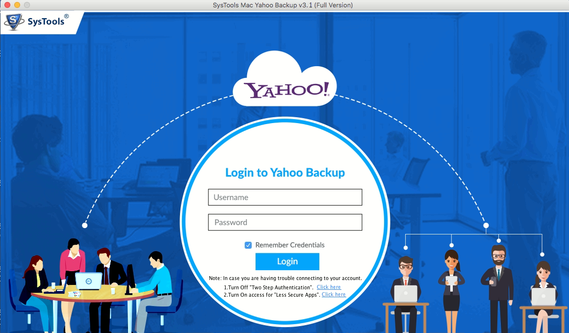 add credentials of yahoo mac