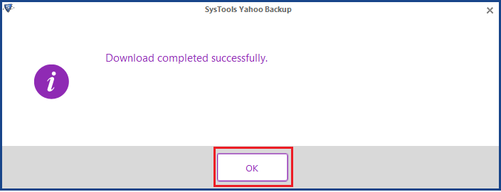 Completion of export Yahoo emails to Desktop